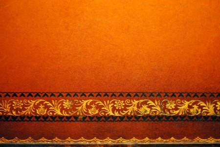 Distressed tooled leather tabletop border  Stock Photo