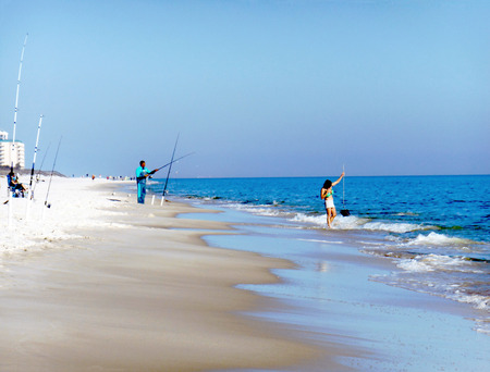 Fishing in the Gulf of Mexico at Perdido Key, Florida photo