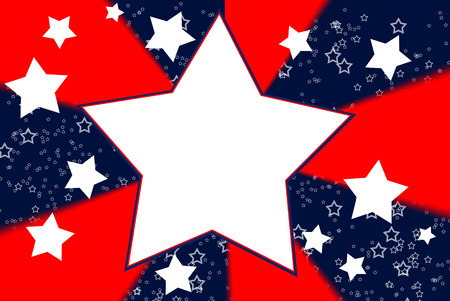 White stars on red and blue background photo
