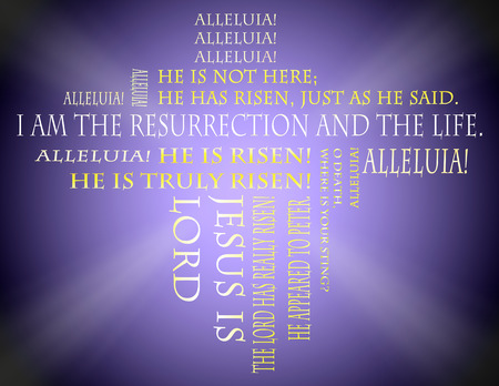 resurrected: Easter scriptures on a purple background