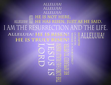 resurrecci�n: Escrituras de Pascua en un fondo p�rpura Foto de archivo