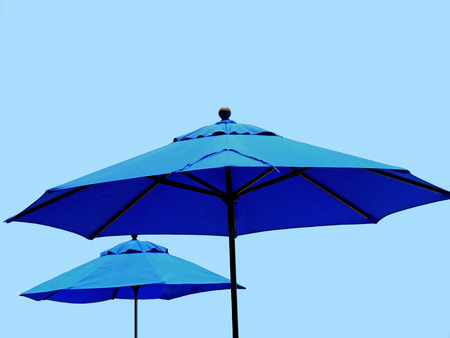 Blue market parasols
