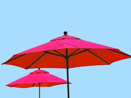 Red market parasols Stock Photo