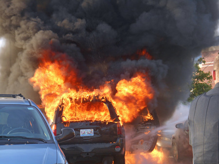 Car fire in the parking lot