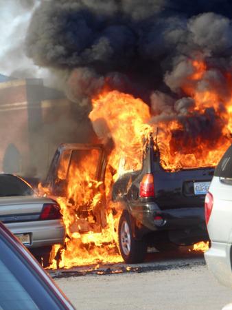 Car fire in parking lot