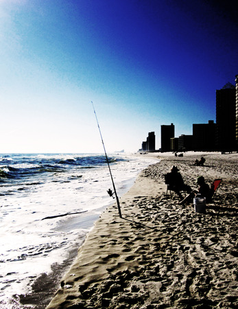 pensacola: Winter afternoon fishing at Pensacola Beach Florida. Low key effect