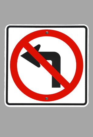 disallow: Sign--No Left Turn isolated on grey.