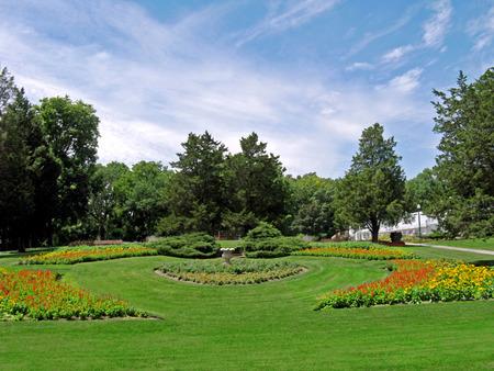 Formal garden in a park Фото со стока