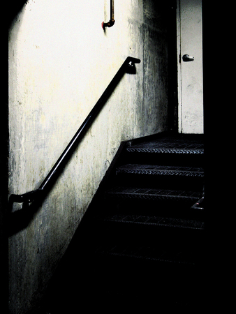 stairwell: Stairwell; low-key film noir effects Stock Photo