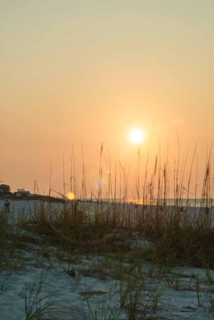 sunup: Hazy end of summer sunrise over the Gulf of Mexico Stock Photo