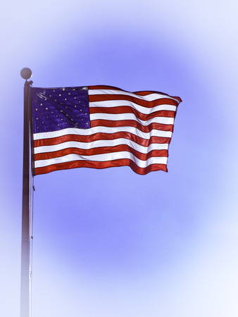 breeze: Flag of the United States flying in the breeze.
