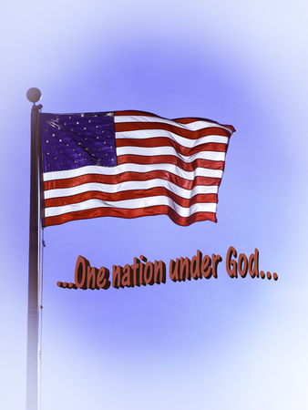 pledge of allegiance: Flag of the United States flying in the breeze.  Words from the US Pledge of Allegiance One nation under God
