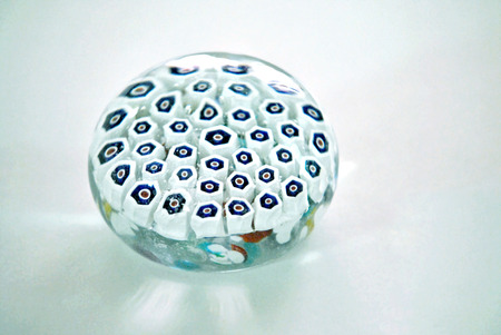 Glass paperweight with millefiori