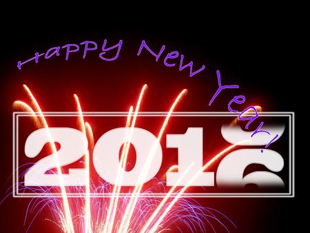 New Year's groet met vuurwerk en gague