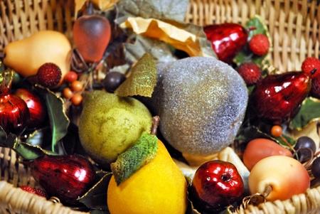 imitations: basket of decorative imitation fruit Stock Photo
