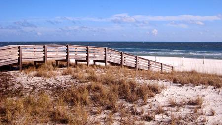 beach access: Boardwalk across dunes provides easy beach access Stock Photo