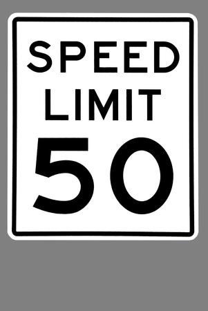 速度制限標識がグレーに分離されました。