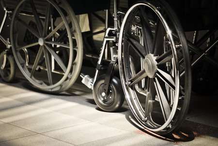 Wheelchair waiting in clinic lobby