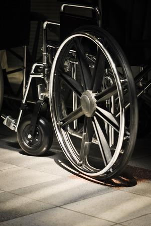 assistive: Wheelchair waiting in clinic lobby