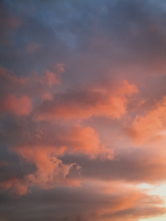 Rosy pink and deep purple sunset clouds