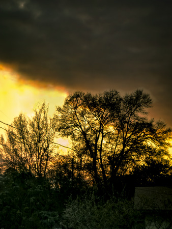 Rural sunset after storm with HDR effect
