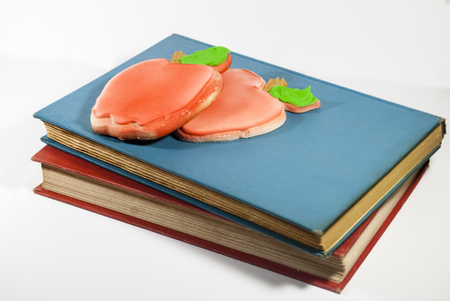 Apple-shaped cookies, a variant of an apple for the teacher tradition. Stock Photo