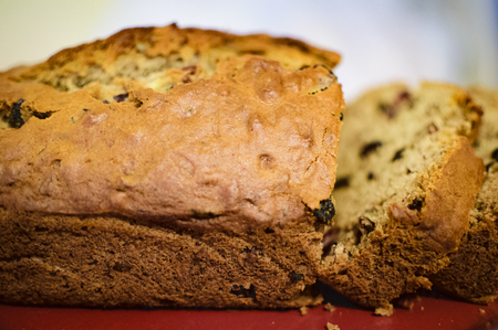 Fresh baked banana bread with fruit and nuts