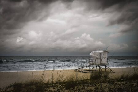 Lifeguard station empty as tropical storm approaches.