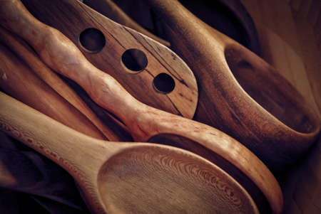 Old-fashioned wooden spoons and utensils