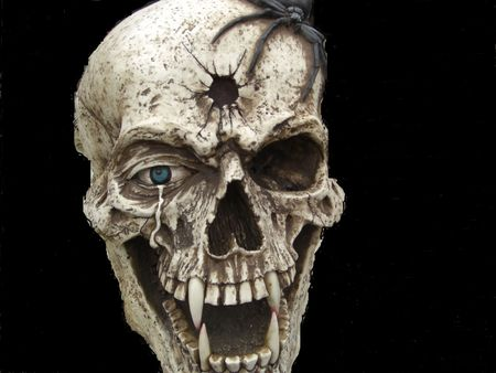 This is an abstract of a human skull with a bullet hole in between the eyes and a tarantula hanging on the top.