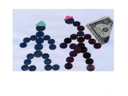 An abstract of two people is formed in various coins and a dollar bill is on the side. Imagens