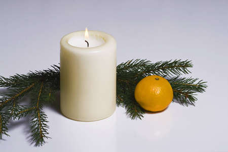 Candle with some fruits and dekos2 Stock Photo - 8456527
