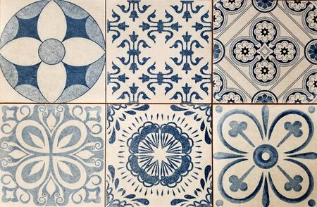Texture - Array of Mediterranean style square tiles in white and blue
