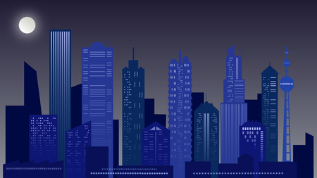 Urban night landscape. Skyscraper in blue colors.