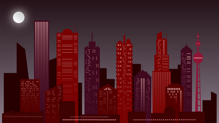 Urban night landscape. Skyscraper in red colors. On a night time background illuminated by the full moon, the view of modern skyscrapers in red tones is cut out. Made with Illustrator.