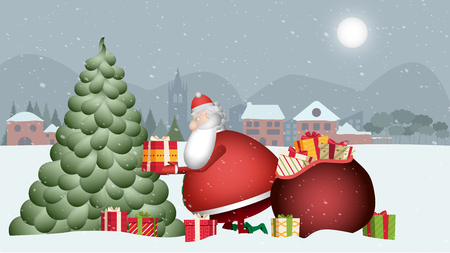 Mr. Claus is very busy tonight. You can not lose a second! Banque d'images - 120359214