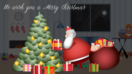 Santa Claus enters the house slowly dragging his red sack with all the gifts to place them on the tree. Banque d'images - 120359217