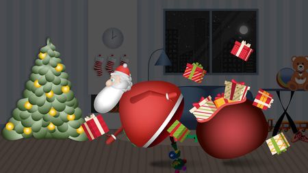 Santa Claus enters your house to leave the gif ... UPS !!. Banque d'images - 120359222