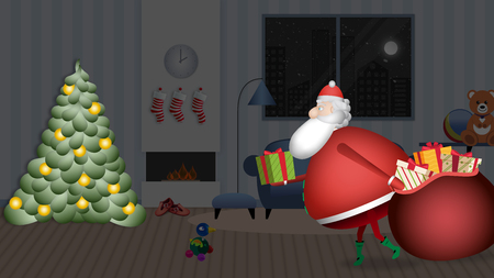 Santa Claus enters the house slowly with his red sack full of gifts to leave on the tree. Banque d'images - 120359221
