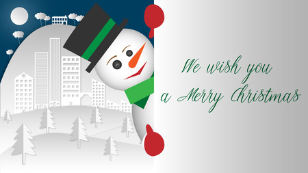 Surprise !. The snowman does not resist to lean out and give you his huge smile. Banque d'images - 120359229