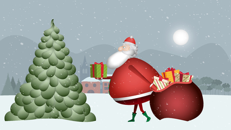 Santa Claus walks placidly dragging his red sack through that snowy landscape to place the gifts on the Christmas tree. Banque d'images - 120359291