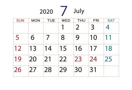 Calendar 2020 July