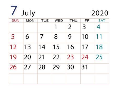 2020 Calendar July Part 2 Banco de Imagens