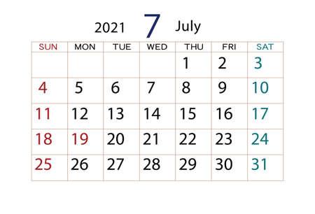 2021 Calendar July