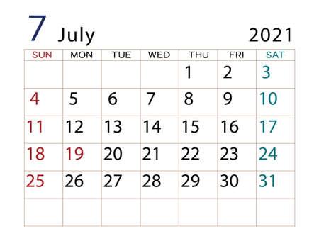 2021 Calendar July Part 2