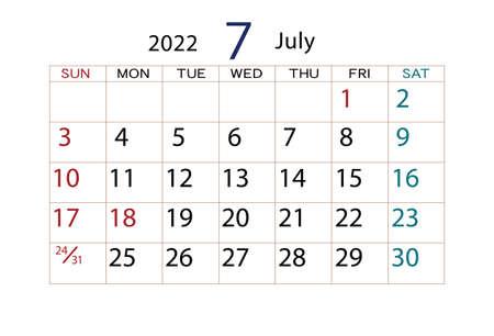 Calendar 2022 July