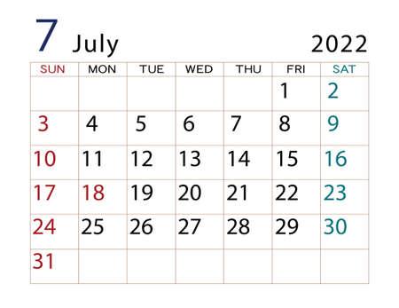 2022 Calendar July Part 2