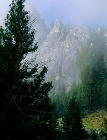 Morning mist in the Iron Creek Mountains, Sawtooth Wilderness, Idaho