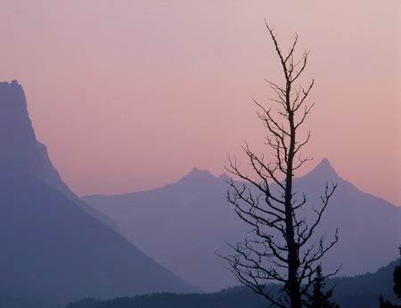 Citadel and Fusillade Mountains at twilight, Glacier National Park, Montana
