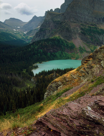 Lower Grinnell Lake and Angel Wing from the Grinnell Glacier Trail, Glacier National Park, Montana